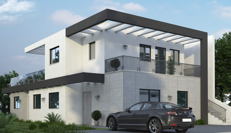 מבט לבית מודרני מכיוון החניה