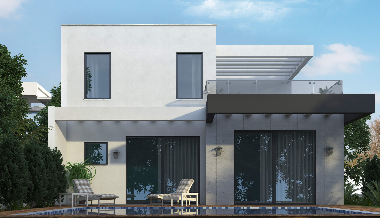 בית בסגנון מודרני מכיוון הגינה