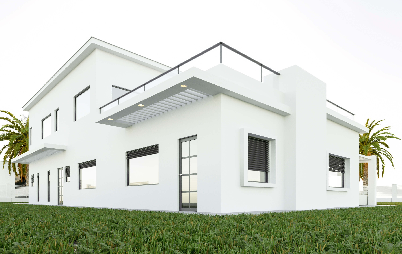 בית מודרני עם שתי קומות ומרפסת