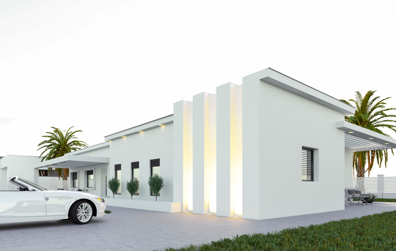חזית מודרנית לבית פרטי עם אורות לד