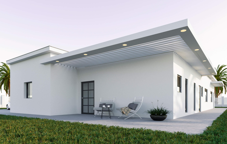 יציאה אחורית לבית מודרני עם קומה אחת