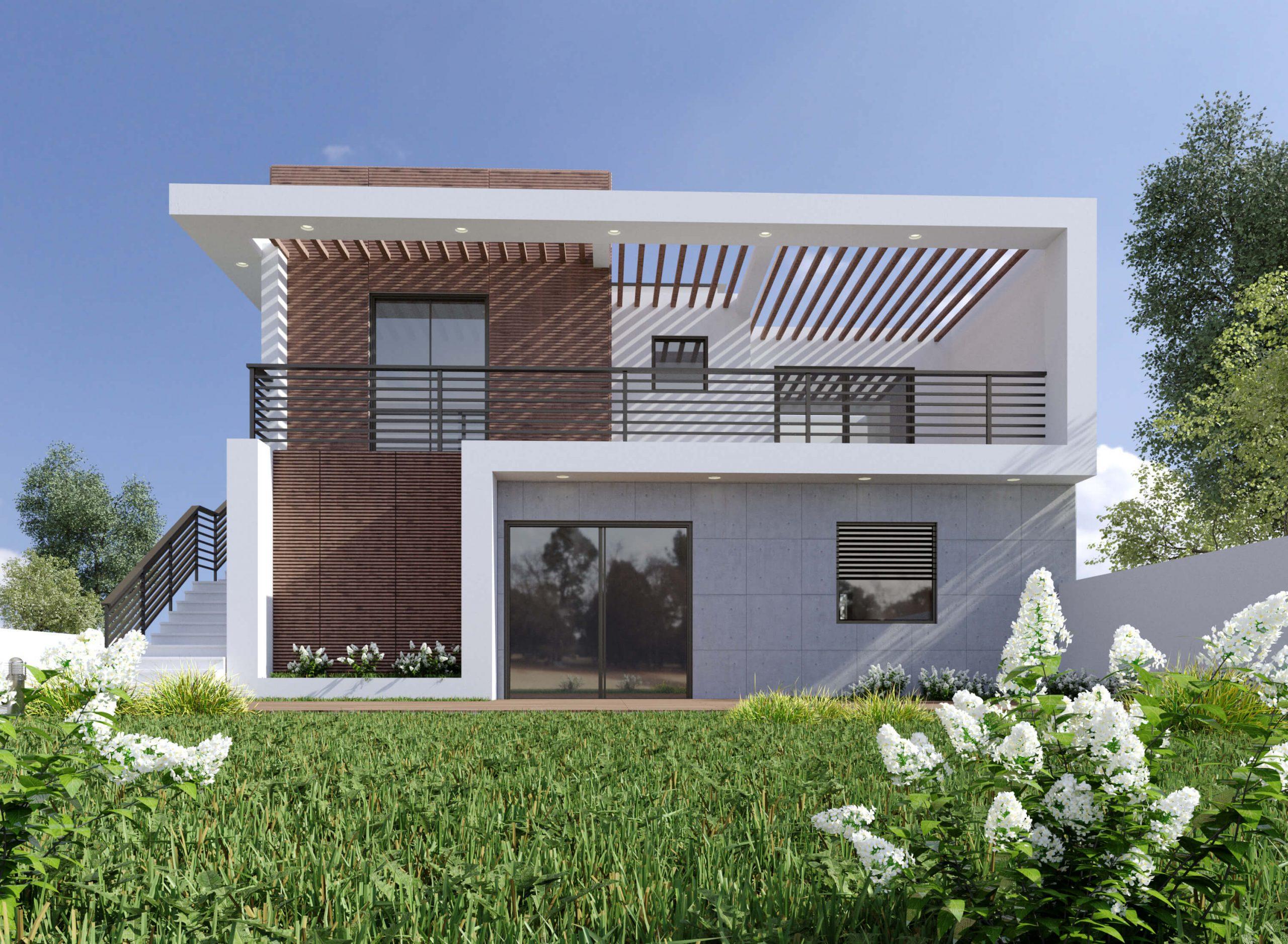 בית פרטי מודרני מבט חזיתי