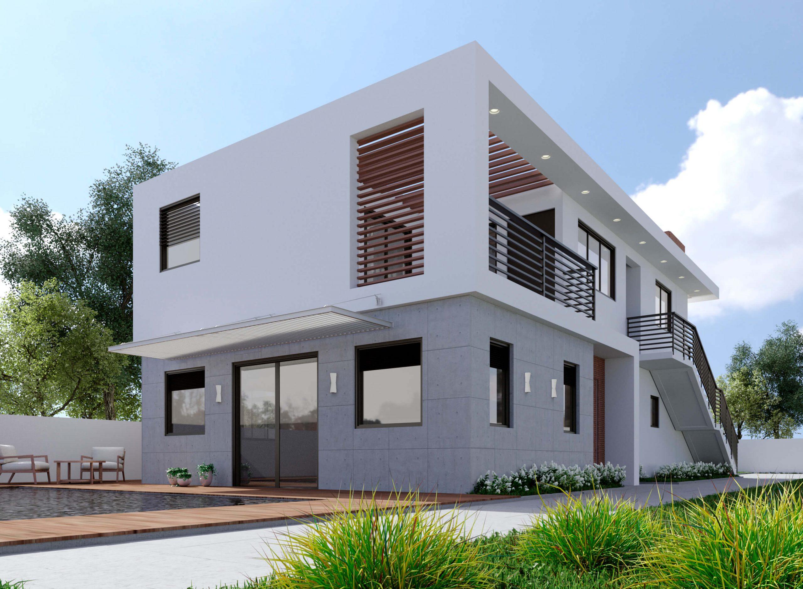 בית פרטי בסגנון מודרני עם בריכה בחצר